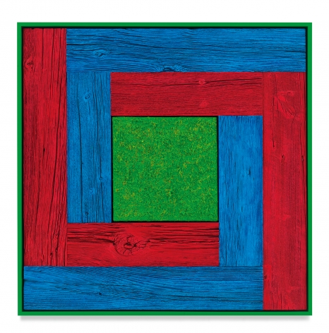 Untitled (Tree Painting, Double L, Red, Blue, and Green), 2020, Oil on linen and acrylic stain on reclaimed wood with artist frame, 33 7/8 x 33 7/8 inches, 86 x 86 cm,MMG#32873