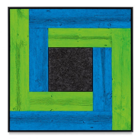 Untitled (Tree Painting-Double L, Blue, Green, and Black), 2021, Oil on linen and acrylic stain on reclaimed wood with artist frame, 52 3/8 x 52 3/8 inches, 133 x 133 cm, MMG#33174