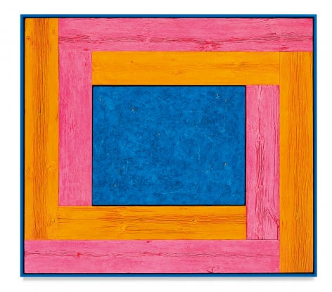 Untitled (Tree Painting-Double L, Pink, Orange, and Blue), 2021, Oil on linen and acrylic stain on reclaimed wood with artist frame, 62 7/8 x 71 inches, 159.7 x 180.3 cm,MMG#33039