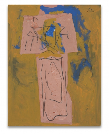Robert Motherwell, {Totem}, Alternative Titles: Zig-Zag; American Totem; American Indian Totem, 1974-86, Acrylic, pasted papers, and crayon on Upson board, 26 x 20 inches, 66 x 50.8 cm, MMG#15404,