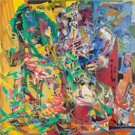 Iva Gueorguieva, Arbor 1974, 2014, Acrylic, collage, and oil on linen, 50 x 50 inches, 127 x 127 cm, A/Y#22159