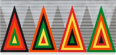 Untitled (Fiery Fire), 2020, Acrylic paint on wood, 36 x 80 inches, 91.4 x 203.2 cm,MMG#32456