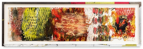Year of the Rat 11, 2018,Vintage Indian paper, oil stick, encaustic, vintage Indian paper, in artist's frame,13 x 40.5 inches,33 x 102.9 cm,MMG#30608