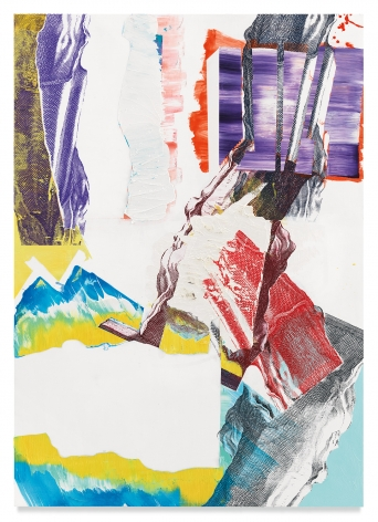 Pia Fries, pylon LU, 2020, Oil and silkscreen on wood, 67 x 47 1/2 inches, 170.2 x 120.7 cm,MMG#32485