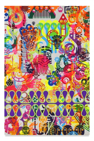 Ryan McGinness, Taipei Dangdai 7, 2019, Acrylic and metal leaf on linen, 60 x 40 inches, 152.4 x 101.6 cm, MMG#31813