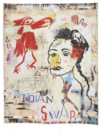 Brad Kahlhamer, Indian Swap, 2020, Oil on canvas, 75 3/4 x 60 inches, 192.4 x 152.4 cm, MMG#32638