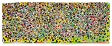 ALLTHENEONGODSTHEYMADE, 2020, Epoxy resin and pigments on wood, 36 x 96 inches, 91.4 x 243.8 cm, MMG#32909
