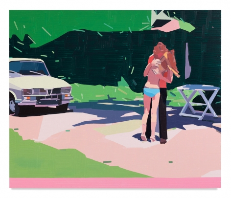 Guy Yanai,Claire and Her Boyfriend, 2021, Oil on canvas, 63 x 74 3/4 inches, 160 x 190 cm,MMG#33116