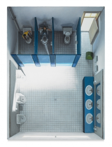 Amy Bennett, Drills - Bathroom, 2018, Oil on panel