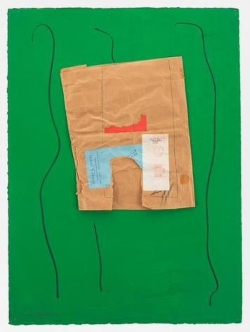 Robert Motherwell, Bowes & Bowes with Green, 1968 / ca. 1973, Acrylic, pasted papers, crayon, and graphite on board, 30 1/2 x 22 3/8 inches, 77.5 x 56.8 cm, AMY#17688