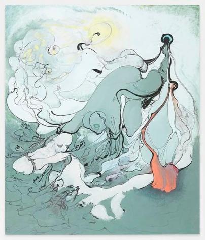 Inka Essenhigh, Grey Men, 2015, Enamel on dibond