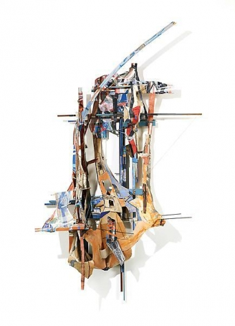 Mast Womb, 2013, Acrylic, oil, collage, paper, linen, muslin, wood, steel, and wire, 114 x 68 x 22 1/2 inches, 289.6 x 172.7 x 57.2 cm, A/Y#20942