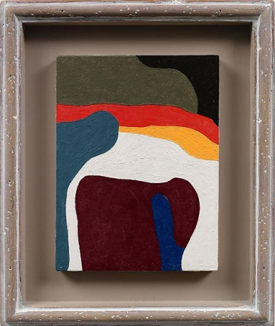 """""""Turn over,"""" 1985, Oil on wood, painting 8 x 6 inches, framed 12 1/8 x 10 2/8 inches, 30.8 x 26 cm, A/Y#19113"""