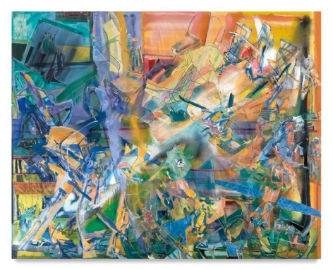 Scavenging Hull, 2016, Acrylic, oil, and collage on canvas, 80 x 100 inches, 203.2 x 254 cm, MMG#28304