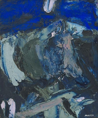 "George McNeil, ""Des Moines Landscape,"" 1969, Oil on panel, 17 x 14 inches, 43.2 x 35.6 cm, A/Y#19670"