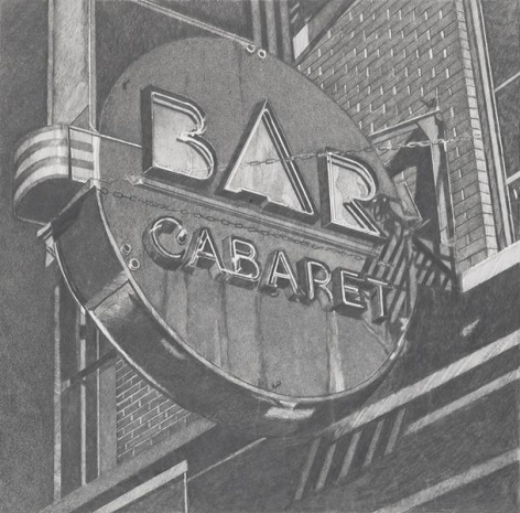 Bar Cabaret, 2013, Graphite on Vellum, 15 3/8 x 15 5/8 inches, 39.1 x 39.7 cm, AMY#29109