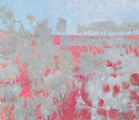 Red Rise with Gray Trees, 2009, Oil on canvas, 52 x 60 inches, 132.1 x 152.4 cm, A/Y#19024