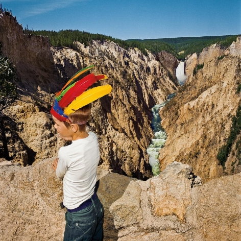 Boy with Feathered Headdress at Lower Falls Overlook, Yellowstone National Park, Wyoming