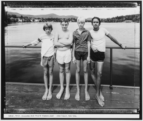 Shane, Tony, Coleman, and Tiny at Mirror Lake, Lake Placid, New York, 1984, vintage gelatin silver print