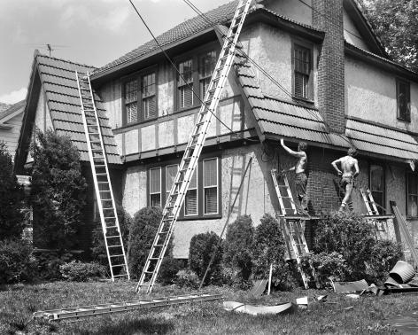 Men Repairing a West Brighton House, 1983-84