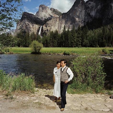 Couple at Bridal Veil Falls, Yosemite National Park, California