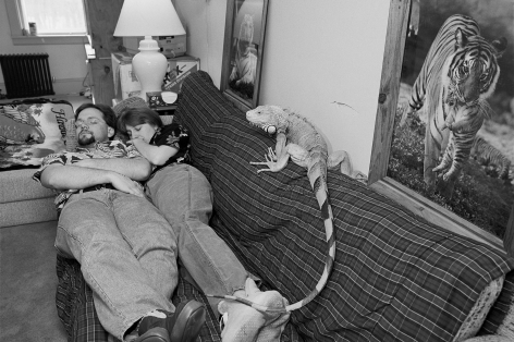 Michael and Dawn with their Iguana Cecil, Bedford, Massachusetts, 1993