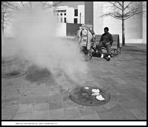 Homeless Man Heating His Lunch, Washington, D.C., 1991, vintage gelatin silver print