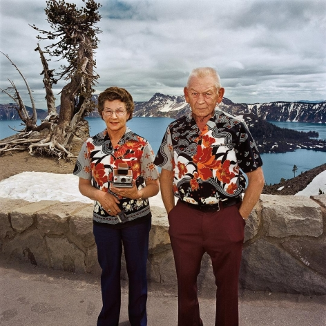 Couple with Matching Shirts at Crater Lake National Park, Oregon