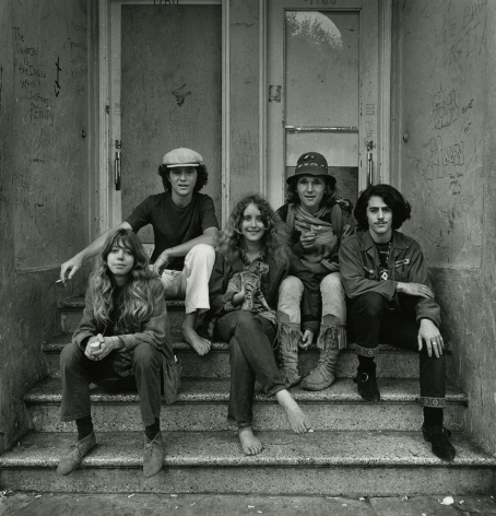 Group on Stairs with Cat, Haight Street, 1968