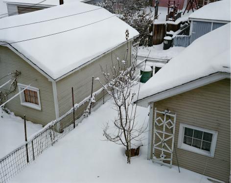 Garages in Snow, Chicago, 1979, digital chromogenic print