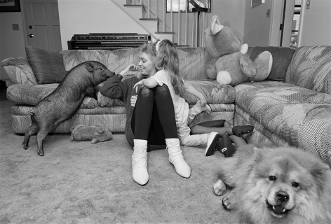 Mother and daughter with Pot-bellied Pig and Chow-Chow, Salem, New Hampshire - 1992