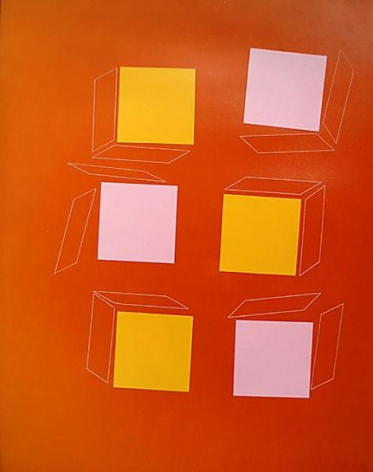 Three Pink and three Orange Squares on Orange with Unsettled Cubes, 2005