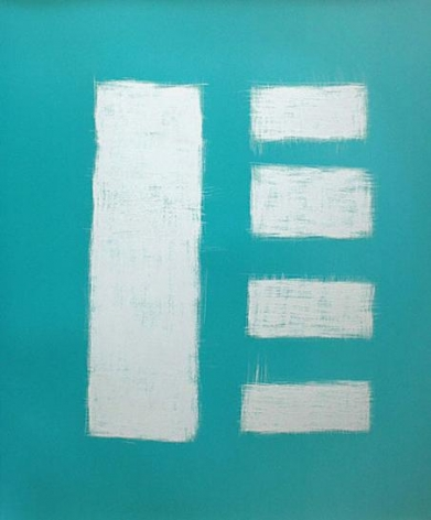 Sanded Vertical Rectangle with Four Horizontal Rectangles on Light Blue, 2005
