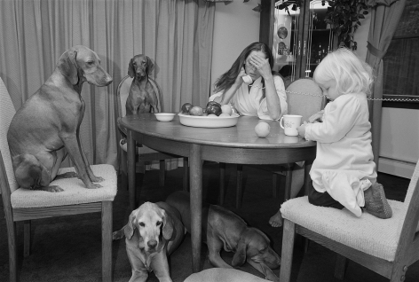 Mother and daughter with Vizslas at the dining table, Sterling, Connecticut - 1992