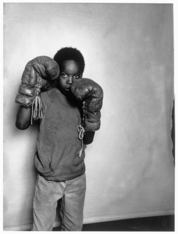 Leon Borensztein, Black Boy with Boxing Gloves, Fremont, California, 1979-1989