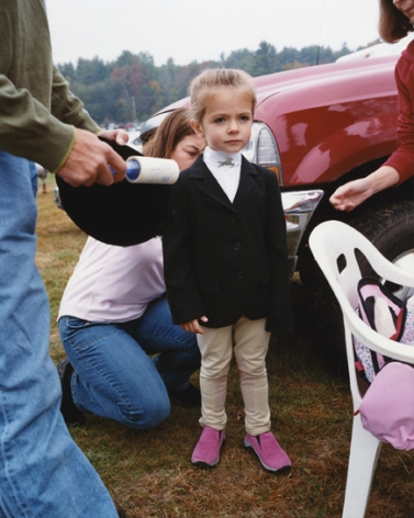 Girl being prepared for a horse show, Sandwich, NH, 2004