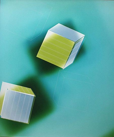 Two Green and Silver Cubes on Dark Fields on Light Blue, 2005
