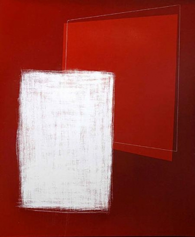 Sanded Vertical Rectangle and Red Trapezoid on Red, 2005
