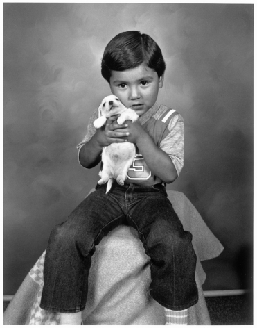 Leon Borensztein, Mexican Toddler with Puppy, Big Pine, California, 1979-1989
