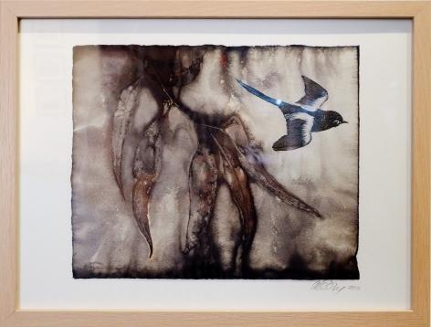 Anne Leon Flying Through 2 Plant dyed paper,screen print 2016