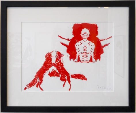 Nathan Gooley Mummy and Foxes, 2017 screenprint on paper 30 x 40 cm