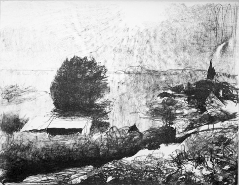 Lloyd Rees The Distant Derwent II, 1983 from the Caloola Suite Lithograph Printed by Fred Genis