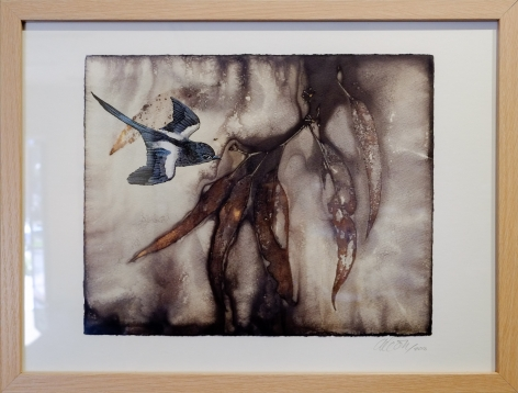 Anne Leon Flying Through 1 Plant dyed paper,screen print 2016