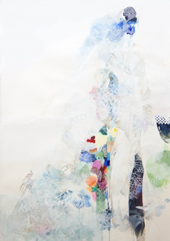 Amanda Humphries Mountain Heart  watercolour, gouache and thread on paper   171.5 cm x 123.5 cm  2018