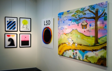 Byron Bay Surf Festival Art Show L: Paul McNeil, R: James McMillan Installation View 2017