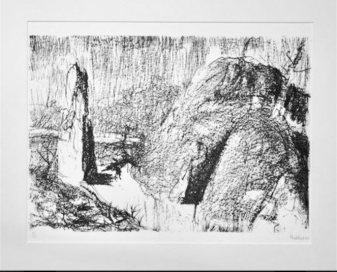 Lloyd Rees The Gorge Launceston, 1982 Lithograph Printed by Fred Genis