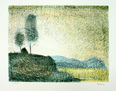 Lloyd Rees Sunset. A Day on the Derwent, 1984 Sandy Bay Set Lithograph Printed by Fred Genis