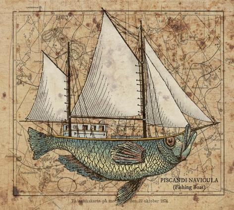 Graham 'Potts' Porter Fishing Boat Mixed media on salvaged timber 2016
