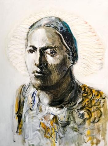 Alex Carletti Neem Karoli Baba, 2017 Acrylic on board