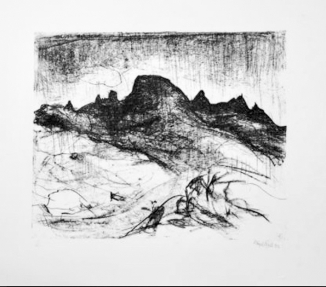 Lloyd Rees Southern Peaks Tasmania I,  Lithograph Printed by Fred Genis